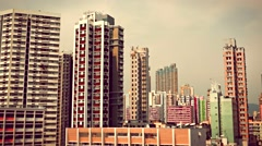 Tall buildings in dense populated area of Kowloon. Hong Kong. 4K resolution Stock Footage