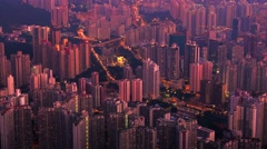 Hong Kong evening aerial view of dense populated area of Kowloon. 4K time lapse - stock footage