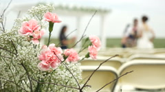 Shallow depth of field on flowers with bridal party out of focus Stock Footage