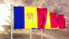 Three flags of Andorra waving in the wind (4K) Stock Footage