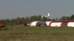 View of glider climbs over the airfield - stock footage
