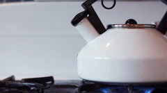Hot water boiling in a tea pot - stock footage