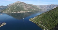 Aerial view of Perast town in Kotor bay in summer sunny day Stock Footage