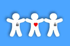 Paper white people with locked hearts over blue background Stock Illustration