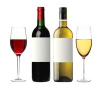 bottles of red and white and glasses wine isolated on white - stock photo