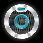 Cool metallic speaker with hexagon mesh Stock Illustration