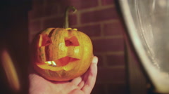 4k mini pumpkin jack o lantern 2 Stock Footage