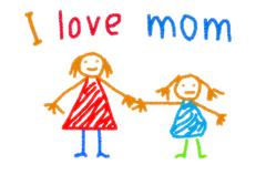 Child drawing of her mother for mother's day - stock illustration