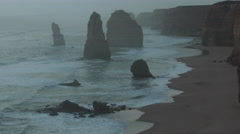 Australia Great Ocean Road 12 Apostles after sunset zoomed in Stock Footage