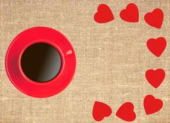 Border frame of red hearts and coffee cup on sack canvas burlap background Stock Photos