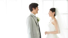 Japanese bride and groom Stock Footage