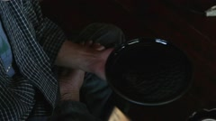 Japanese traditional lacquerware artisan at work in his studio - stock footage