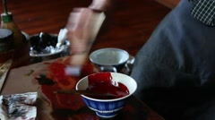 Japanese traditional lacquerware artisan at work in his studio Stock Footage