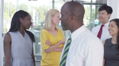 4K Portrait of cheerful smiling business team in modern office building - stock footage