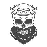 Bearded Skull King with Crown. Vintage Cruel tyrant portrait design. Royal t Stock Illustration