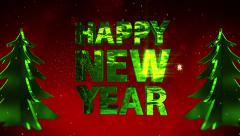 Happy New Year red sparkling background x-mas trees-.mp4 - stock footage