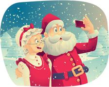 Santa Claus and Mrs. Claus Taking a Photo Together Stock Illustration