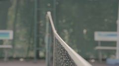 Close-up of tennis ball hitting the net Stock Footage