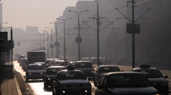 Traffic over Belgrade bridges. Misty morning, urban scene. Belgrade city, Serbia Stock Footage