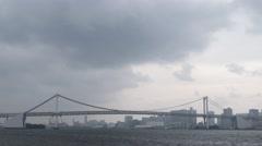 Time Lapse footage of Tokyo Bay and Rainbow Bridge, Tokyo, Japan - stock footage