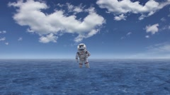 CG animation of astronaut standing on water Stock Footage