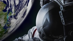 CG animation of astronaut in space facing earth Stock Footage