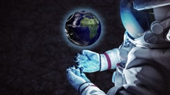 CG animation of astronaut holding small rotating planet Stock Footage