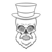 Bearded skull with hypnotic grasses and top hat. Crazy steampunk professor Stock Illustration