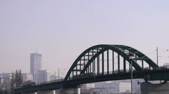 Traffic over Belgrade bridges. Belgrade city Stock Footage