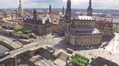Fly over Historical center Dresden from Elba.mp4 Stock Footage
