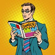 man reads comic book - stock illustration