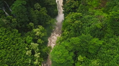 Stock Video Footage of Aerial View of Amazing Powerful Waterfall in Tropical Jungle.