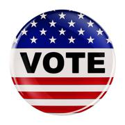 USA vote button with clipping path - stock illustration