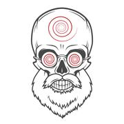 Bearded skull with hypnotic glasses. Crazy steampunk magician portrait. Dead Stock Illustration