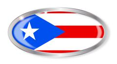 Stock Illustration of Puerto Rico Flag Oval Button