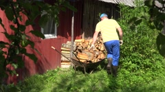 Farmer man pull full barrow of chopped wood and stack it near woodshed. 4K Stock Footage