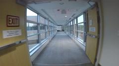 4K Steadicam walking hospital breezeway - stock footage