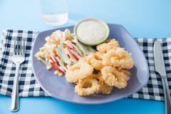 Fried calamari, Fried Squid - stock photo