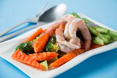 Stir fried vegetables with shrimp Stock Photos