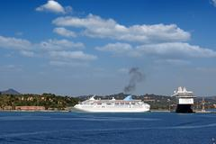 Large cruiser ships in port Corfu island Greece Stock Photos