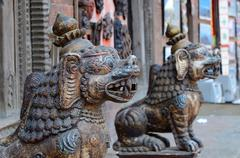 Tribal mythical lion statues in old town of Kathmandu, Nepal ,Asia Stock Photos