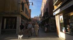 People and dog walking on Saca de la Toletta, Venice Stock Footage