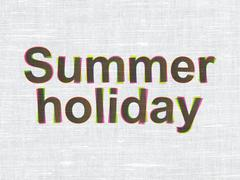 Stock Illustration of Vacation concept: Summer Holiday on fabric texture background