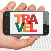 Stock Illustration of Tourism concept: Hand Holding Smartphone with Travel on  display