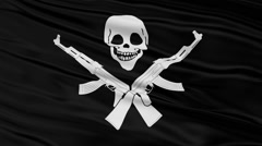 Stock Video Footage of Black Somali Pirate Flag With Skull and AK47