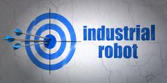 Industry concept: target and Industrial Robot on wall background Piirros