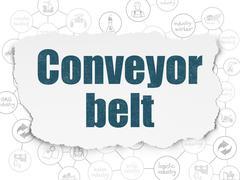Manufacuring concept: Conveyor Belt on Torn Paper background Stock Illustration
