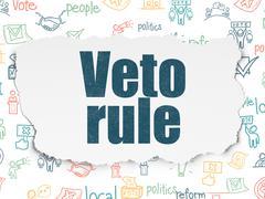 Politics concept: Veto Rule on Torn Paper background Stock Illustration