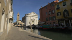 San Barnaba Church seen from Fondamenta Alberti in Venice Stock Footage