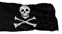 Stock Video Footage of Isolated Black Pirate Flag With Skull and Bones